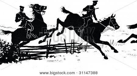 Cossacks on horseback Hussar Engraving
