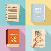 User Guide Icons Set. Flat Set Of User Guide Icons For Web Design poster