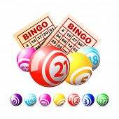 Bingo or lottery balls and cards.