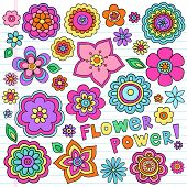 Flower Power Flowers Groovy Psychedelic Hand Drawn Notebook Doodle Design Elements Set on Lined Sket
