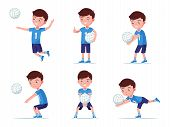 Set Of Boy Volleyball Player In Various Poses Playing With A Ball. Collection Of A Child In Sportswe poster