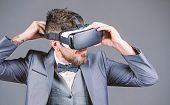 Virtual Work. Businessman In Vr Headset. Visual Reality. Bearded Man Wear Wireless Vr Glasses. Digit poster