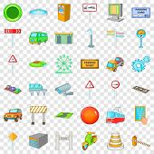 City Geography Icons Set. Cartoon Style Of 36 City Geography Icons For Web For Any Design poster