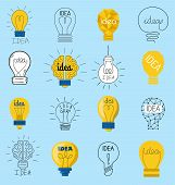 Sweet Business Idea Light Bulb Concept Creative Icons Design. Bulbs Idea Lamp Innovation Electric Cr poster