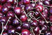 Showcase With Fresh Sweet Cherries On The Street Market. Close-up. Fruits Of The Store. Spontaneous  poster