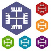 Pagan Ancient Symbol Icons Colorful Hexahedron Set Collection Isolated On White poster