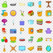 Indoor Icons Set. Cartoon Style Of 36 Indoor Icons For Web For Any Design poster
