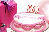 stock photo of 50th  - A 50th birthday cake for to celebrate someones special day - JPG
