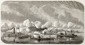American civil war: Union fleet bombing Fort Sumter in Charleston harbour (South Carolina). Created