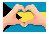 Bahamas Flag And Hand Heart Shape. Patriotic Background. National Flag Of Bahamas  Illustration poster