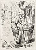 Cloth dyer old illustration. After antique engraving of Jost Amman (16th century), published on Magasin Pittoresque, Paris, 1882