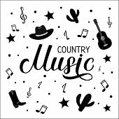 Country Music Lettering With Hat, Notes And Guitar Isolated On White. Acoustic Guitar Musical Show T poster