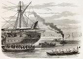 French intervention in Mexico: Egyptian battalion landing in Veracruz from La Seine. Created by Gode