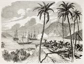 French intervention in Mexico: attacking battery among palm trees. Created by Dumont, published on L