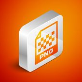 Isometric Png File Document Icon. Download Png Button Icon Isolated On Orange Background. Png File S poster