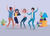 Young People Dancing In The Livingroom Vector Illustration Design poster