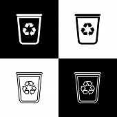 Set Recycle Bin With Recycle Symbol Icon Isolated Icons Isolated On Black And White Background. Tras poster