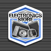 Vector Logo For Electronics Store, White Decorative Signboard With Illustration Of Set Modern Web El poster