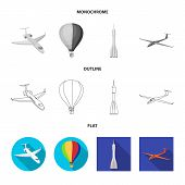 Isolated Object Of Transport And Object Logo. Collection Of Transport And Gliding Vector Icon For St poster