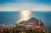 Aerial View Of The Old City Piran And Beautiful Sailing Ship With Five Masts At Sunset Time. Sloveni poster