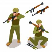Special Forces Soldiers And Military Weapons Isometric Vector Isolated On White Background. Isometri poster