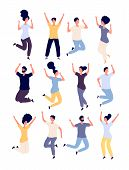 Jumping People Set. Happy Smiling Adults Enjoy In Jump Celebrating Event. Healthy Lifestyle Isolated poster