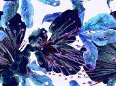 Bold Floral Print. Big Hawaii Seamless Print On Blue, Indigo Background. Large Hawaii Spring Aquarel poster