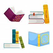 Vector Illustration Of Library And Bookstore Icon. Set Of Library And Literature Vector Icon For Sto poster
