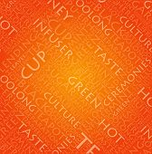Orange background with text for tea concept