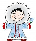 vector illustration of a nice young Inuit girl