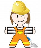 vector illustration of a nice funny worker