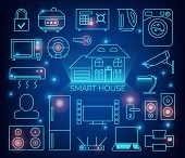 Smart Home Automation Vector Background. Connected Smart Home Devices Like Phone, Smart Watch, Table poster