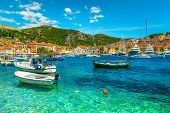 Popular Travel And Beach Vacation Destination. Well Known Medieval Historic Town With Luxury Yachts, poster