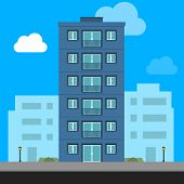 Buildings Icon And Office Icon - Illustration Stock Illustration. Apartment Vector Isolated. Office  poster