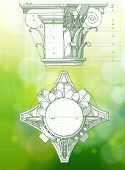 Chapiter - hand draw sketch composite architectural order & green bokeh background.  Bitmap copy my vector