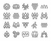 Group Of People Icon. Business People Line Icons Set. Editable Stroke. poster