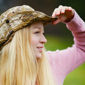 picture of fisherwomen  - beautiful girl with long blond hair looking - JPG