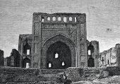The ruins of the Persian mosque near Ashgabat. Engraving by  from picture by  Perro. Published in ma