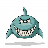Angry Cartoon Shark. Hand Draw Vector Illustration. poster