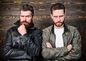 Men Brutal Bearded Hipster Posing In Fashionable Black Leather Jackets. Leather Fashion Menswear. Ha poster