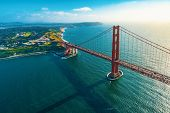 Aerial View Of The Golden Gate Bridge In San Francisco, Ca poster