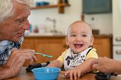 Happy grandfather feeding liquid food to grandson wearing bib. Cute adorable toddler eating food wit poster