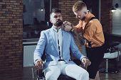 Hair Stylist And Barber. Hair Salon And Barber Vintage. Brutal Guy In Modern Barber Shop. Trims. Gre poster
