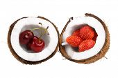 yummy strawberry and cherry in coconut on white background