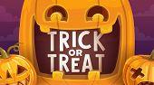 Halloween Trick Or Treat Scary Pumpkins Vector Design. Creepy Jack-o-lanterns, Autumn Horror Holiday poster