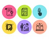 Seo Statistics, Swipe Up And Approved Agreement Icons Simple Set. Report Document, Parking And Start poster