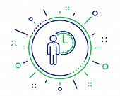 Person Waiting Line Icon. Service Time Sign. Clock Symbol. Quality Design Elements. Technology Waiti poster