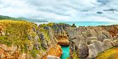Punakaki Pancake Rocks in Paparoa National Park. Panorama