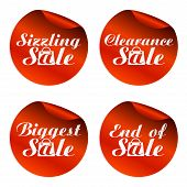 Red Sale Stickers Sizzling,clearance,biggest,end Of With Bag.vector Illustration poster
