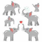 Set Of Cute Cartoon Elephants In Different Poses. African Animals. Small Baby Elephants. Vector Illu poster